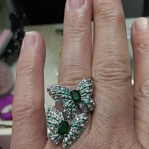 NWOT SP green zircon and crystal butterfly ring